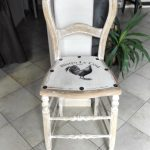 ancienne chaise haute de caisse relookée vintage custom deco